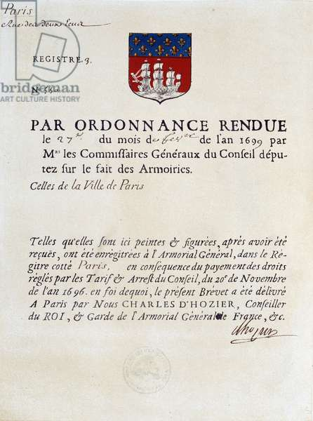 Order establishing the Arms of the City of Paris, February 27, 1699