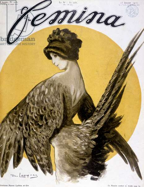 "Madame Simone in the role of Chantecler's pheasant hen (piece in verse by Edmond Rostand), cover """" Femina"""" from 15/01/1910"