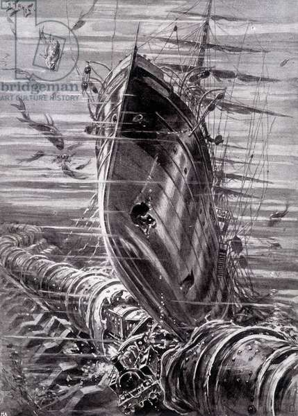 "From Paris to London by the railway: a terrible disaster (destruction of the underwater tube by a shipwrecked ship) - in ""Je sais tout"""", 1905"