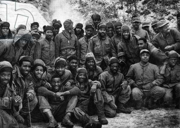 African American soldiers of the US Army deployed during the Korean War, 1959 (b/w photo)