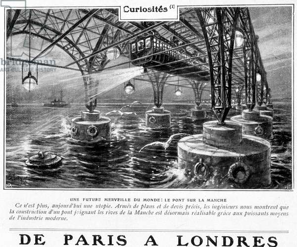 "A future wonder of the world: the bridge over the Channel - in ""Je sais tout"""", 1905"