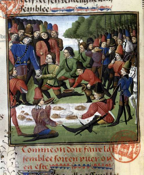 """Meal scene during hunting - in """""""" Book of Hunting by Gaston Phoebus, Count of Foix, Lord of Béarn"""""""", 14th century"""