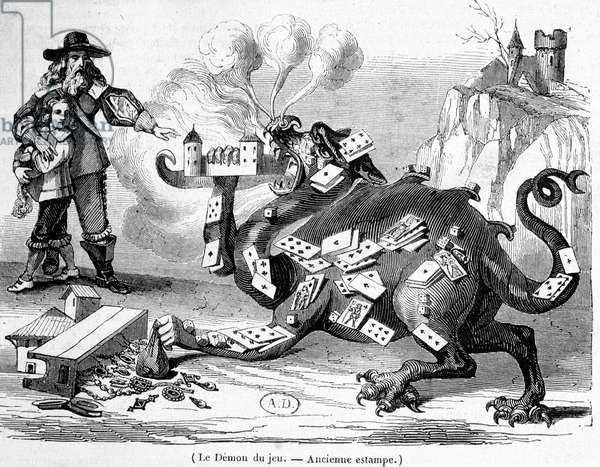 The demon of the game - French allegorical engraving, 17th century