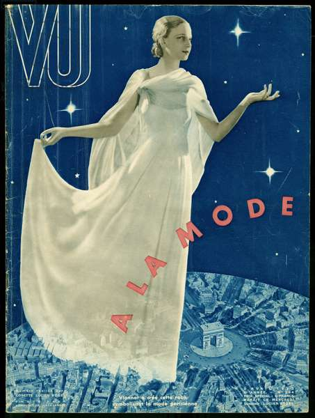 In fashion, a young woman dressed in a dress by Madeleine Vionnet (1876-1975), symbolizing Parisian elegance floats in the air above Place de l'Etoile, Paris. Photography Saad, editing by Alexandre for the cover of the weekly VU, director Lucien Vogel (1886-1954), number 264, date 5/4/1933. Selva Collection.