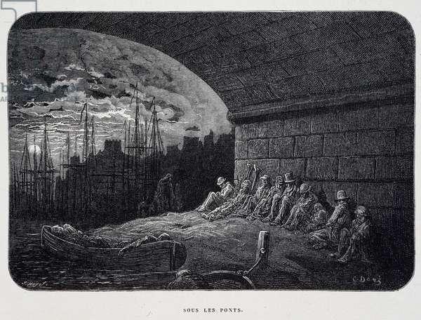 "Tramp Under Bridges - in ""London"" by Gustave Doré, 1876."