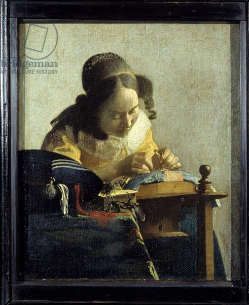 The lace. Painting by Jan (Johannes) Vermeer of Delft (1632-1675), circa 1658-1660. Oil on canvas. Dim: 0,24x0,21m. Louvre Museum.