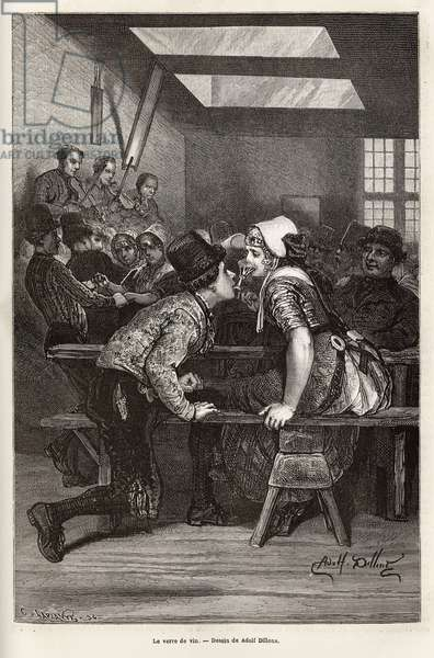 """On fair days, the peasants offer to drink sweet liqueurs to young girls, the same glass serves everyone, and passes from mouth to mouth, often filled, and allows the young pretendant to make his court, at the rhythm of the orchestra and dances, engraving after the drawing by Adolf Dillens, illustrating a journey to Zelande (Neerland), in 1873, by Charles de Coster, published in """"Le tour du monde"""""""" 1874, edited by Edouard Charton, Hachette edition, Paris. Selva Collection."""