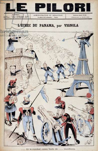 """(Cartoon on financial scandals at the end of the 19th century) """"Panama Failure by Vignola: And the fight ended for lack of... ammunition. """""""", cover of """""""" Le Pilori"""""""" of March 19, 1893"""