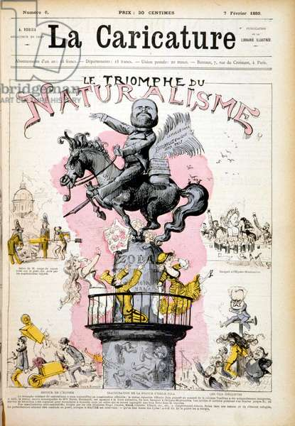 """Statue of Emile Zola, """""""" The Triumph of Naturalism"""""""""""" - in """""""" The Caricature"""""""" of 07/02/1880."""