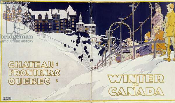 Chateau Frontenac in Quebec: Winter in Canada - Advertising poster, v. 1920