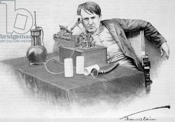 "Thomas Edison and his phonograph - in """" Le Monde Illustré"""" of 17/08/1884"