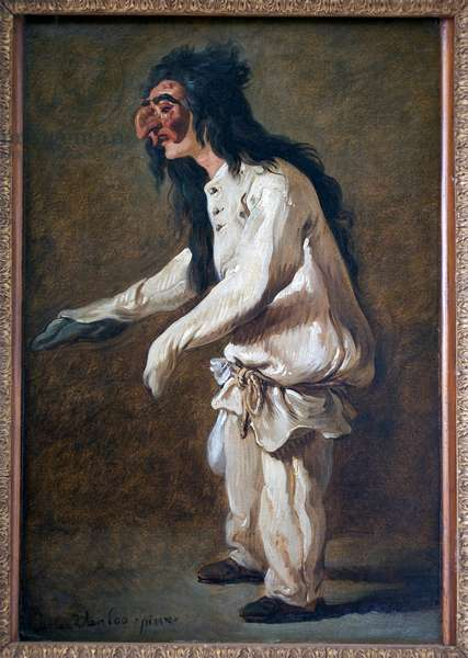 Polichinella (Pulcinella). Painting by Carle Van Loo (1705-1765), Oil On Canvas, 1730. French Art, 18th century. Musee Jules Cheret, Nice.