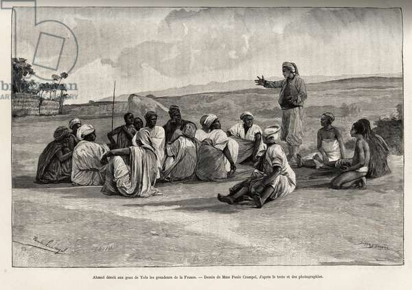 """Ahmed told the people of Yola the greatness of France. Engraving by Paule Crampel (1864-1964) to illustrate the story """""""" Voyage dans l'Amadaoua"""""""", by Lieutenant of Navy L.Mizon, in 1891-1892, in Le tour du Monde 1892, directed by Edouard Charton (1807-1891), Hachette, Paris."""