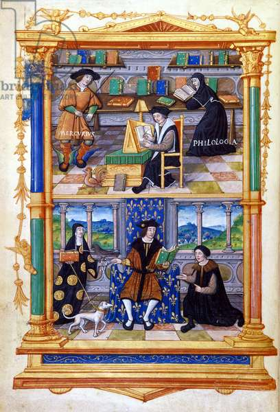 """Prince learning physics, philology, religion and maintenance - in """""""" From the instruction of a prince"""""""" by Guillaume Bude (Budee) (Budaeus) (1467-1540), 16th"""