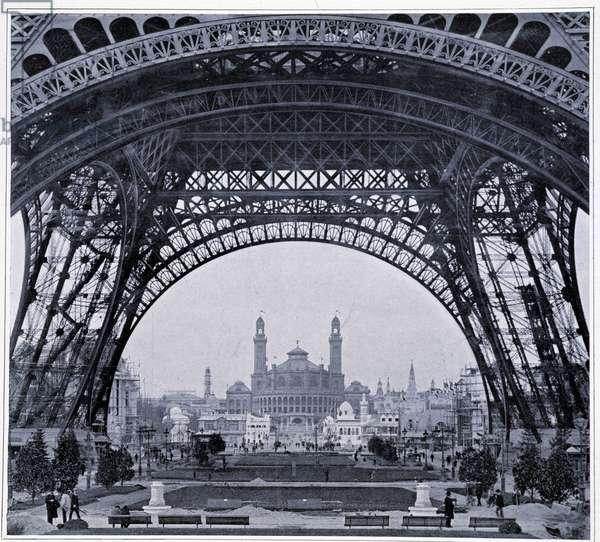 "Universal Exhibition: View of the Trocadero taken below the Eiffel Tower - in """" The Figaro Illustré"""", 1900"