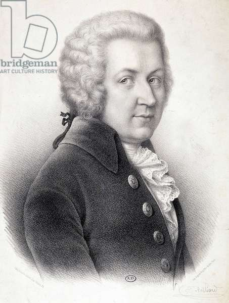 Portrait in bust of Wolfgang Amadeus Mozart (1756-1791) - by Belliard, engraving, 19th century.