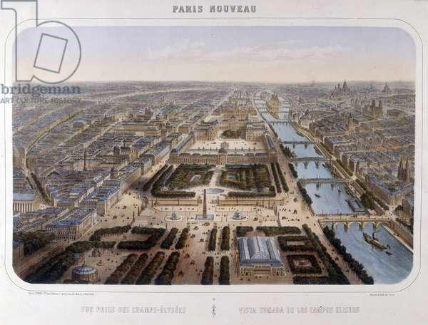 Transformations of Paris under the Second Empire, Paris Haussmann. View of the Haussmann perspective between the Palais du Louvre and the Champs Elysées, circa 1870.
