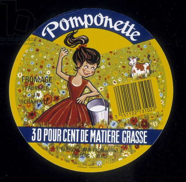 """Cheese label """""""" Pomponette"""""""" 20th century"""