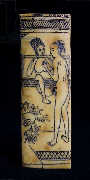 Chinese erotic scene, engraving enhanced with Chinese ink, on ivory imitation celluloid, late 19th- beginning 20th century. Leonard de Selva collection.