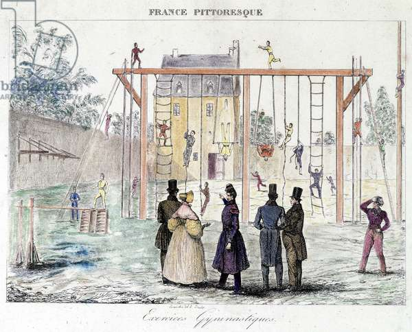 "Gymnastics exercises - in """" Picturesque France"""", deb. 19th century"