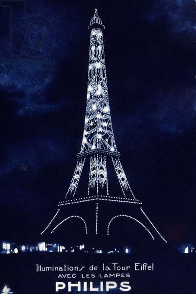 """Lighting of the Eiffel Tower with lamps """""""" Philips"""", 1926"""