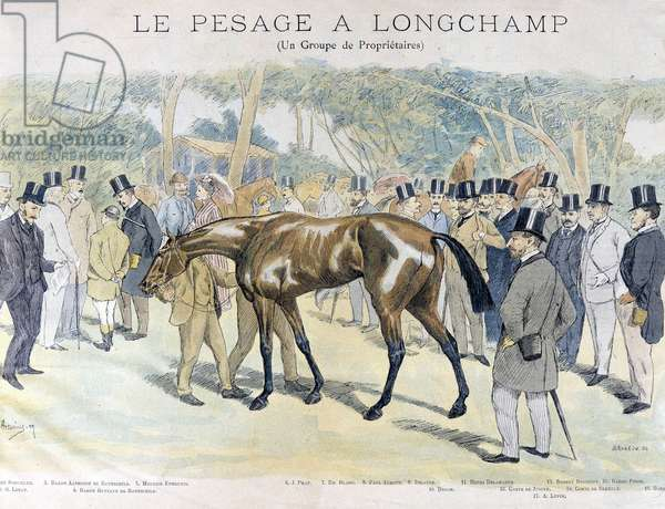 Weighing at Longchamp and a group of horse owners