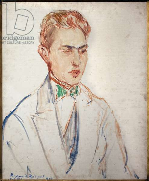 Study for the portrait of Raymond Radiguet (1903-1923). Artwork by Jacques Emile (Jacques-Emile) Blanche (1861-1942), oil on cardboard, before 1923. French Art, Musee des Beaux Arts de Rouen.