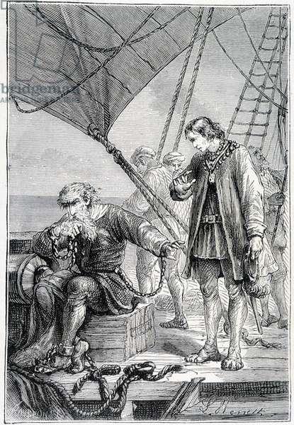 "Columbus bound as a villain (on ship deck), ill. """" Discovery de la Terre"""" by Jules Verne, ed. Hetzel, n.d. 19th."