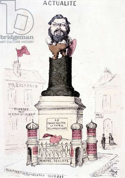 Cartoon of Courbet in statue on the truncated base of the Vendôme column.