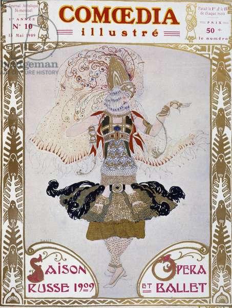 """Ballet Russes dancer by Bakst, cow."""" Comoedia Illustré"""""""", 15/5/1909."""