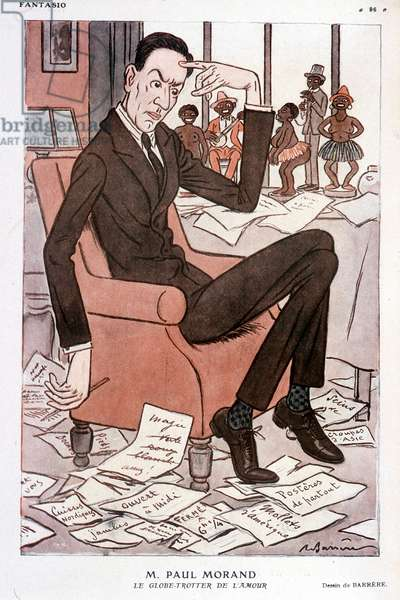 """Humorous portrait of Paul Morand - by Barrère in """"Fantasio"""""""" from 15/09/1928"""