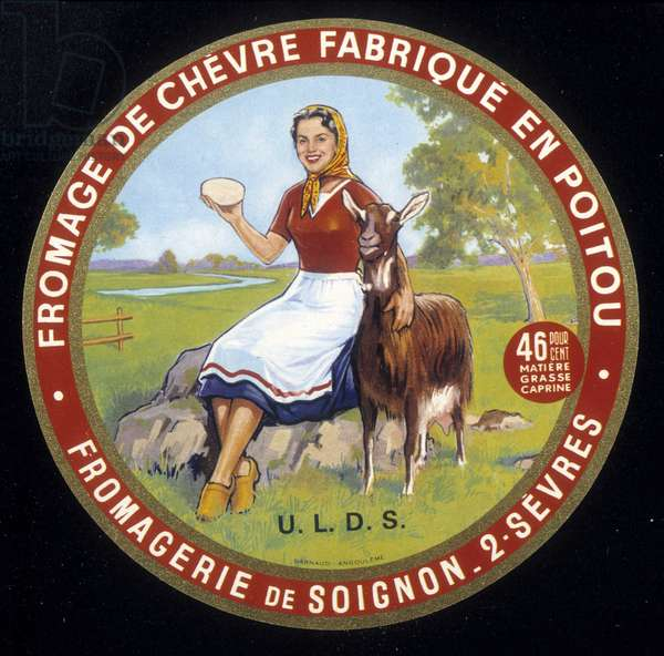 Label of goat cheese 20th century