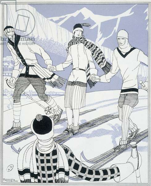 Skiers - drawing, 20th century
