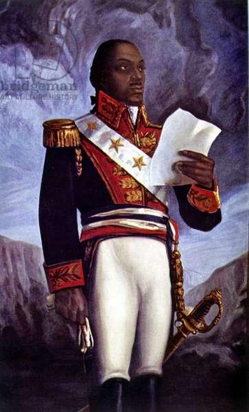 Portrait of Francois Dominique Toussaint L'Ouverture (colour litho)
