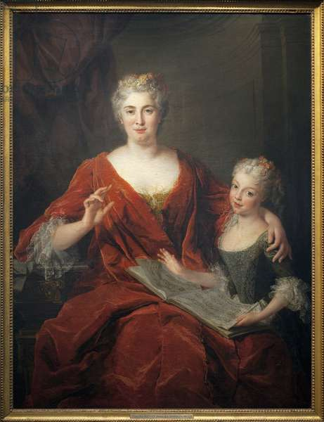 Madame de la Sablonniere and her daughter. Painting by Alexis Simon Belle (1674-1734), oil on canvas, 1724, 18th century french art. Museum of Fine Arts in Pau.