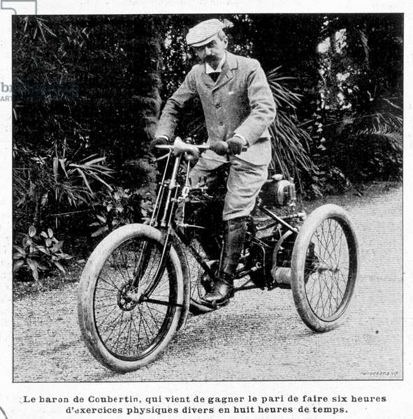 Baron Pierre de Coubertin, who just won the bet to do six hours of various physical exercises in eight hours of time.