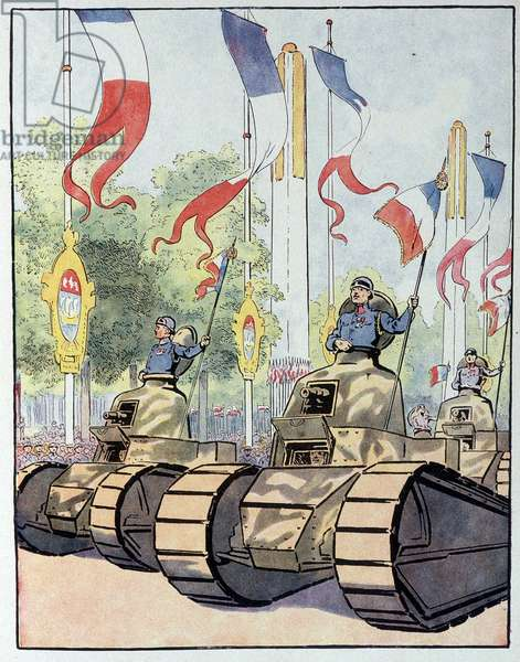 "Tanks of the French army during the July 14, 1919 defile on the Champs Elysees after the 1918 armistice. In ""Our national glories"", circa 1920."