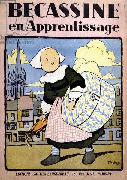 "Comic book """" Becassine in Learning"""", ed. Gautier-Languereau, Paris. Drawings by Joseph Porphyre Pinchon (1871-1953), text by Caumery (Maurice Languereau dit) (1867-1941) DR"