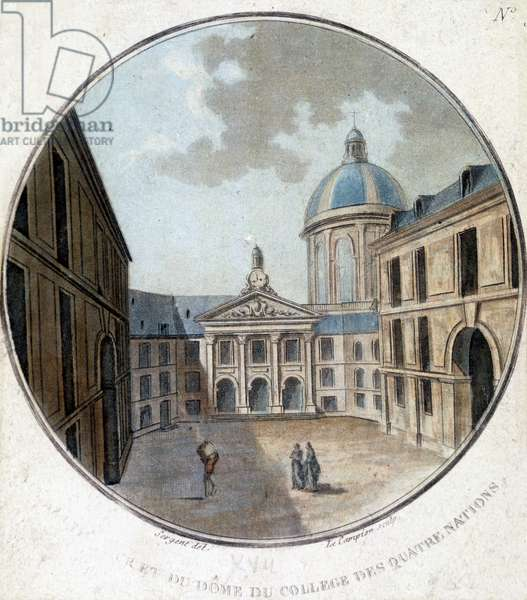 View of the courtyard and dome of the College of Four Nations (Four Nations) in Paris. Engraving of the 17th century.