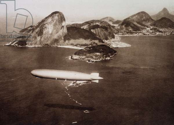 "Graf Zeppelin (Graf-Zeppelin) in the bay of Rio de Janeiro on the background of """" sugar bread"""" on 25/05/1930"