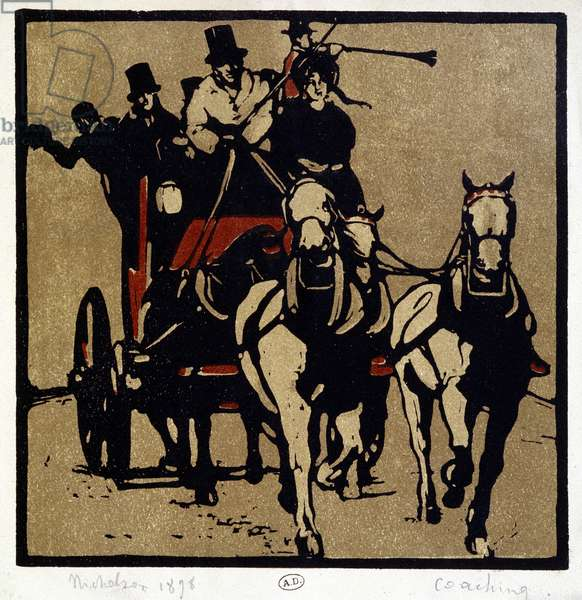 "A carriage or a diligence: """" Coaching"""" - by William Nicholson (1872-1949), 1898"