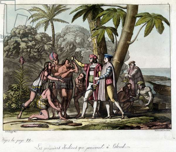 """The first Indians who appeared in Columbus - in """"The Old and Modern Costume"""""""" by Dr. Jules Ferrario, 1819-1820 ed. Milan."""