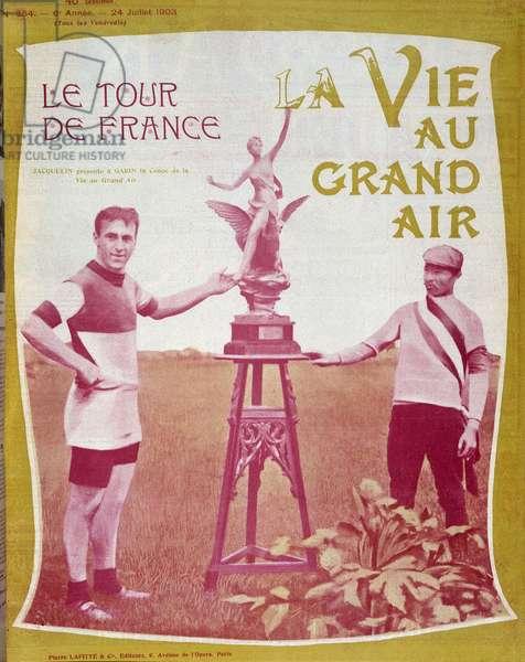 """Cover """""""" La Vie au Grand Air"""""""" of July 24, 1903: The Tour de France, Edmond Jacquelin (1875-1928) presented Maurice Garin (1871-1957) the Coupe de la Vie au Grand Air."""