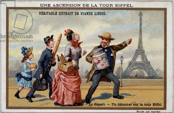An ascent of the Eiffel Tower: the beginning - chromo. Liébig, deb. XXth century