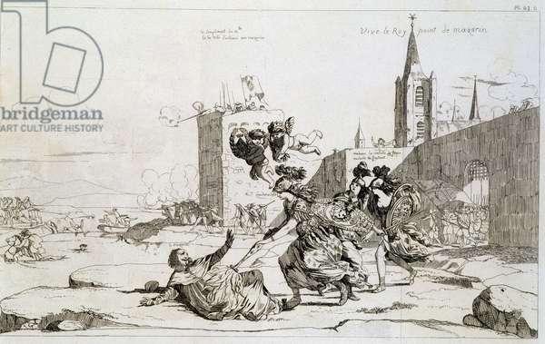 "Cartoon depicting Mademoiselle de Montpensier (Grande Mademoiselle) """" sweeping out of France Mazarin et ses partisans"""", 17th century."