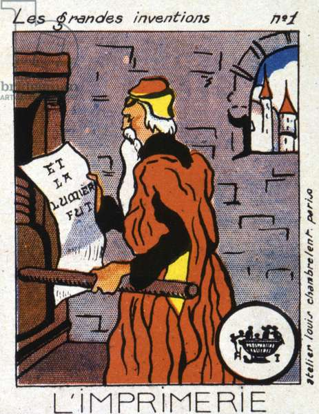 The great inventions: the printing press; Johannes Gensfleisch Gutenberg (1400-1468) in front of his press