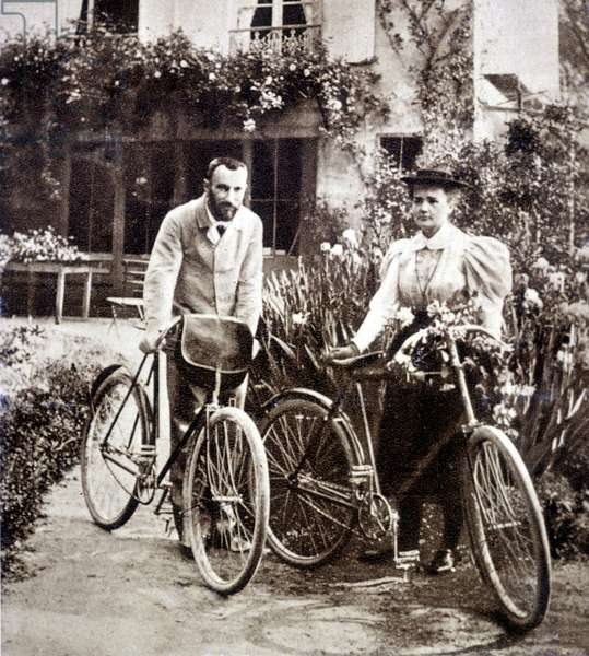 Pierre and Marie Curie in their garden 1895