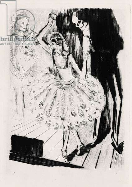 """Dance Macabre. Engraving by Raphael Drouart (1894-1972) for """""""" L'Eve future"""""""", 1925, by Jean Marie Mathias Philippe Auguste, count of Villiers de L'Isle Adam (L'Isle-Adam) (1838-1889). Rights reserved"""