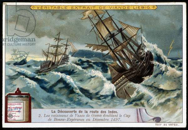 The discovery of the route of the Indes: Vasco de Gama ships doubling the Cape of Good Esperance in December 1497 - advertising sticker Liébig