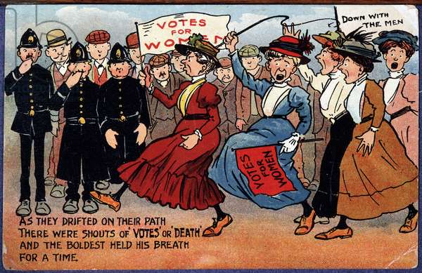 Demonstration of English suffragettes - cartoon postcard, 1910